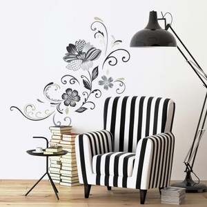 Black and White Flower Scroll Peel and Stick Giant Wall Decal