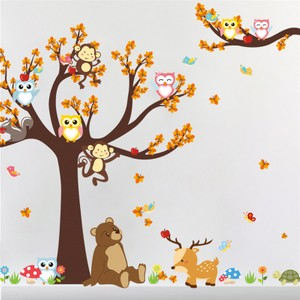 Owl Monkey Bear Deer Tree Wall Decal