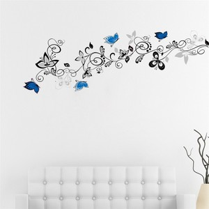 Flower Vine Butterflies Wall Decal