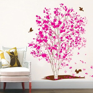 Pink Flower Tree Wall Decal