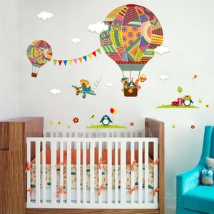 Colorful Hot Air Balloon With Animals Wall Decal