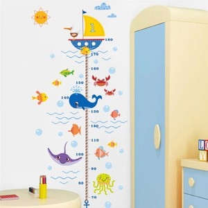 Ocean Fish Boat Height Measure Wall Decal