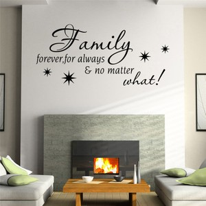 Family Forever for Always No Matter What Quote Wall Decal