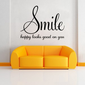 Smile Happy Looks Good on You Quote Wall Decal