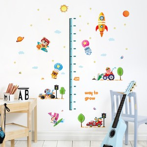 Animals Cars And Rocket Ship Height Growth Chart Wall Decal