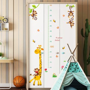 Giraffe And Monkey Height Growth Chart Wall Decal