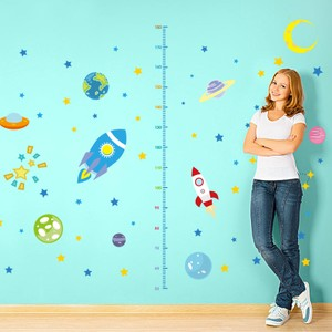 Airship And Planet Height Growth Chart Wall Decal
