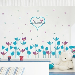 Blue And Plum Purple Flowers Stars Baseboard Wall Decal