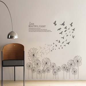 Black Dandelion And Flying Birds With Quote Wall Decal