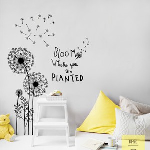 Black Dandelion With Quote Bloom Where You Are Planted Wall Decal