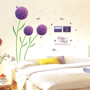 Romantic Purple Dandelion With Photo Frame Wall Decal