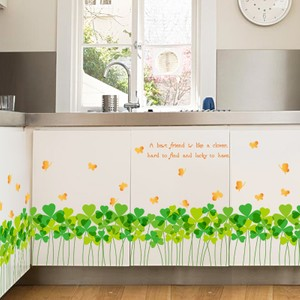 Green Clover And Orange Butterfly Baseboard Wall Decal