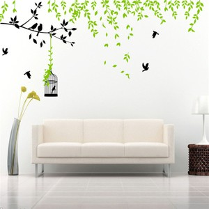 Large Spring Green Tree With Branch And Cage Wall Decal