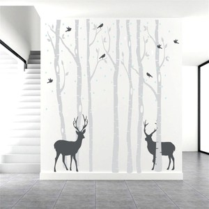 Frolic Tree With Two Deers And Birds Carved Wall Decal