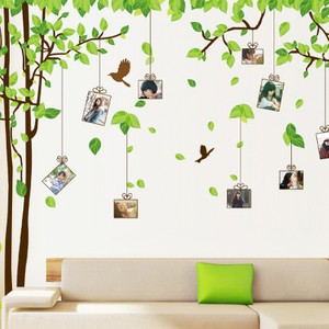 Extra Large Green Leaves Hanging Photo Frame Wall Decal