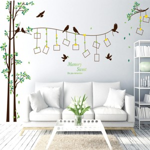 Cute Swallows on the Tree Branch Photo Frame Wall Decal