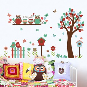 Owl Family Tree And Flowers Wall Decal