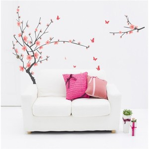 Plum Tree And Butterflies Wall Decal