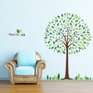 Full of Vitality Green Happy Tree Wall Decal