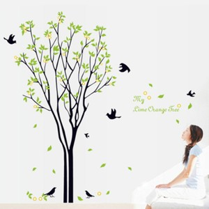 Fresh Green Leaves Tree And Birds Wall Decal