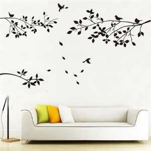 Black Twigs Trees And Birds Wall Decal