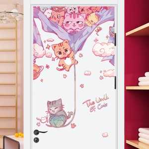 The World of Cat Color Overlay Door Wall Decal