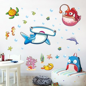 Gigantic Hammerhead Shark And Anglerfish In Undersea Wall Decal