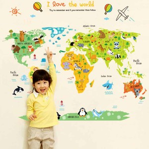 Animal Landmarks World Map Wall Decal