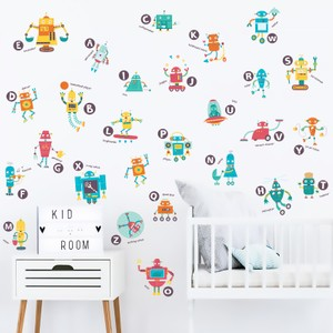 Robots And Alphabet Learning Wall Decal