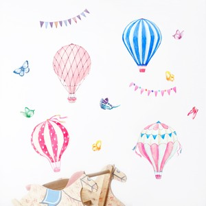 Colorful Hot Air Balloon And Butterflies Wall Decal