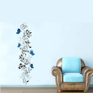Black Vine And Blue Butterflies Wall Decal
