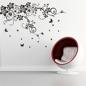 Black Flower And Butterflies Wall Decal