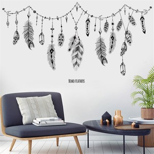 Black Feather Hanging Wall Decal