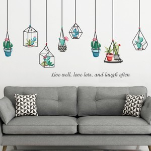 Plant Pots Hanging With Quote Wall Decal