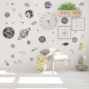 Space Planet Sketch Wall Decal