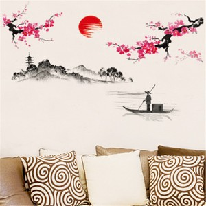 Chinese Landscape Painting Red Sunburst Red Plum Wall Decal